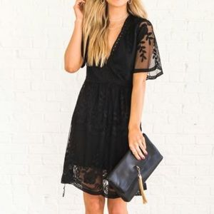 STUNNING little black lace dress